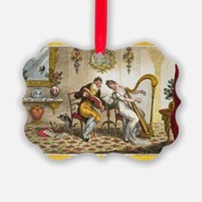 Victorian Courtship and Harp Music Ornament