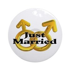 Men Just Marries Ornament (Round)