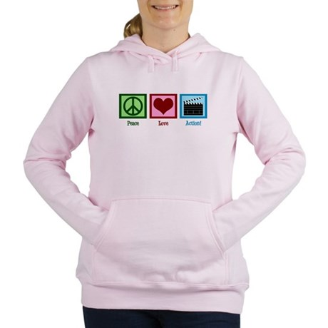 Peace Love Action! Women's Hooded Sweatshirt
