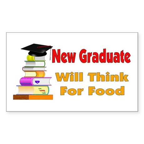 Will Think For Food Rectangle Sticker