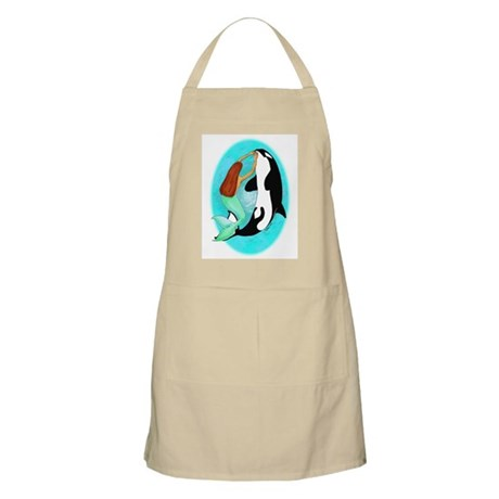 Mermaid and Orca BBQ Apron