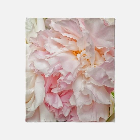 Blooming pink peonies 1 Throw Blanket