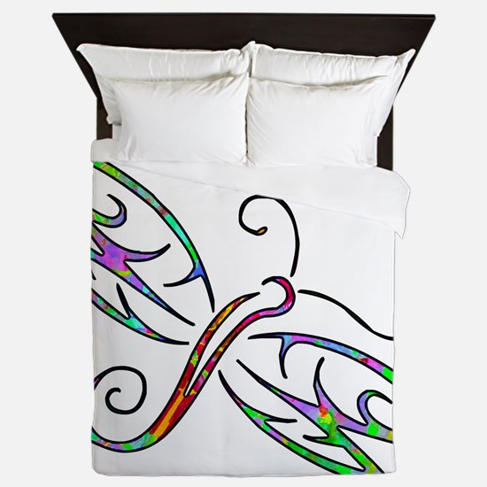 Colorful dragonfly Queen Duvet