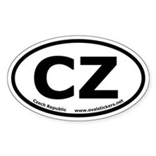 "Czech Republic Oval ""CZ"" Car Decal"