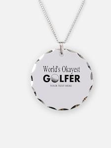 Worlds Okayest Golfer   Funny Golf Necklace