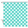 Turquoise And White Polka Dots Shower Curtain
