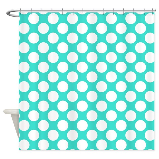 Turquoise And White Polka Dots Shower Curtain By Polkadotted