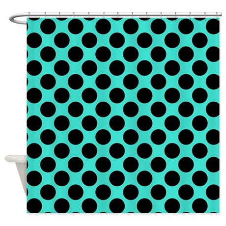 Turquoise And Black Polka Dots Shower Curtain By Polkadotted
