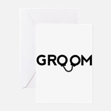 Groom handcuffs Greeting Cards