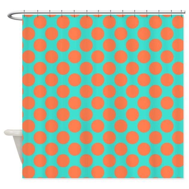 Turquoise And Coral Polka Dots Shower Curtain By Polkadotted