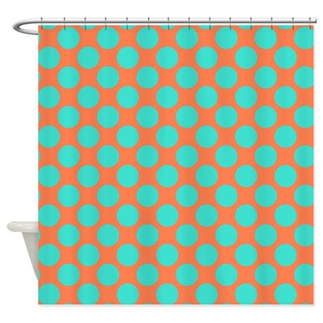 coral and turquoise polka dots shower curtain by polkadotted