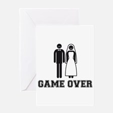 wedding couple game over Greeting Cards