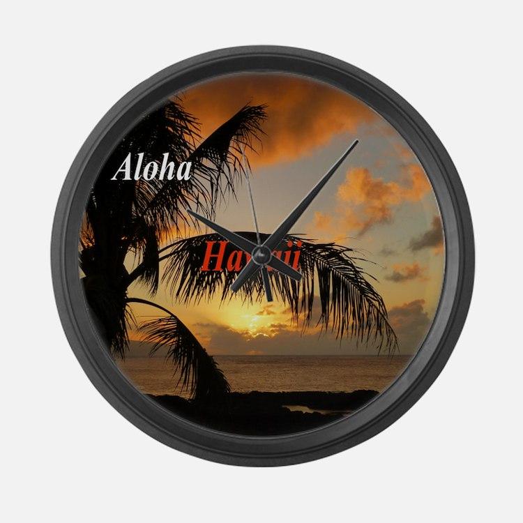 Sunset North Shore Oahu Large Wall Clock