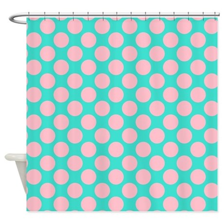 Turquoise And Pink Polka Dots Shower Curtain By Polkadotted