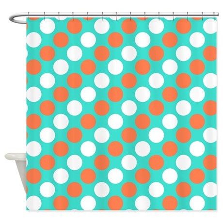 turquoise white and coral polka shower curtain by polkadotted