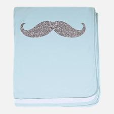 Silver Glitter Mustache baby blanket