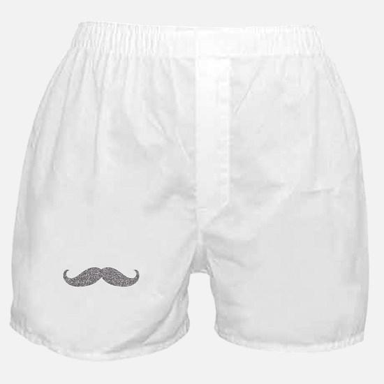 Silver Glitter Mustache Boxer Shorts