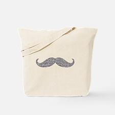 Silver Glitter Mustache Tote Bag