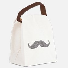 Silver Glitter Mustache Canvas Lunch Bag