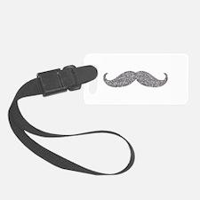 Silver Glitter Mustache Luggage Tag