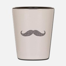 Silver Glitter Mustache Shot Glass