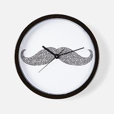 Silver Glitter Mustache Wall Clock