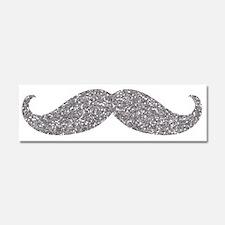 Silver Glitter Mustache Car Magnet 10 x 3