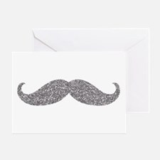 Silver Glitter Mustache Greeting Cards