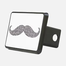 Silver Glitter Mustache Hitch Cover