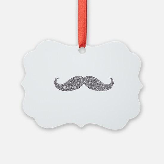Silver Glitter Mustache Ornament