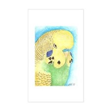Yellow & Green Budgie Rectangle Decal