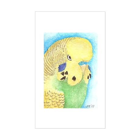 Yellow & Green Budgie Rectangle Sticker