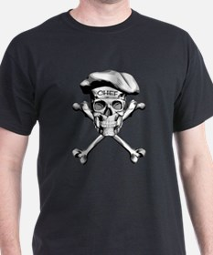 White Culinary Chef Skull T-Shirt