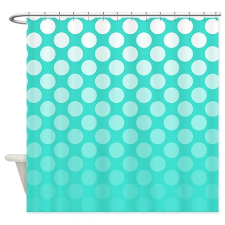 Turquoise And White Ombre Polka Shower Curtain By Polkadotted
