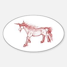 Zephyr Unicorn Red Ochre Oval Decal