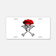Red Culinary Chef Skull Aluminum License Plate