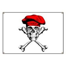 Red Culinary Chef Skull Banner