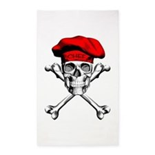 Red Culinary Chef Skull 3'x5' Area Rug
