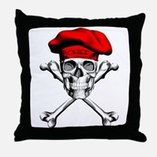Red Culinary Chef Skull Throw Pillow