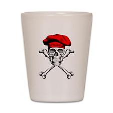 Red Culinary Chef Skull Shot Glass