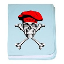 Red Culinary Chef Skull baby blanket
