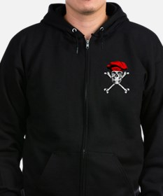 Red Culinary Chef Skull Zip Hoodie