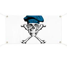 Blue Culinary Chef Skull Banner