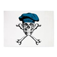 Blue Culinary Chef Skull 5'x7'Area Rug