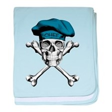 Blue Culinary Chef Skull baby blanket