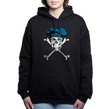 Blue Culinary Chef Skull Women's Hooded Sweatshirt