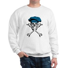 Blue Culinary Chef Skull Sweatshirt