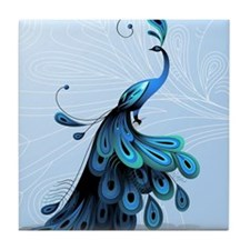 Elegant Peacock Tile Coaster