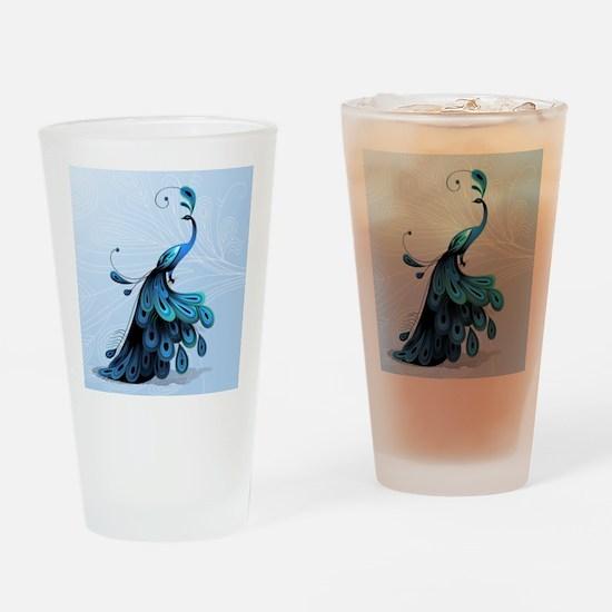 Elegant Peacock Drinking Glass