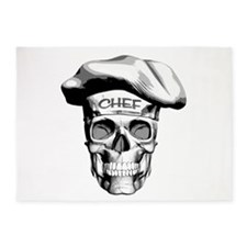 white Chef Skull 5'x7'Area Rug